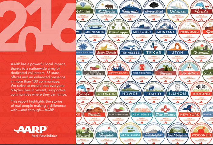 A screenshot of the AARP nonprofit annual report from 2016.