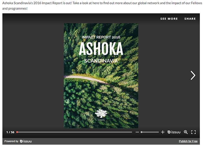 A screenshot of the Ashoka Scandinavia nonprofit annual report from 2016.