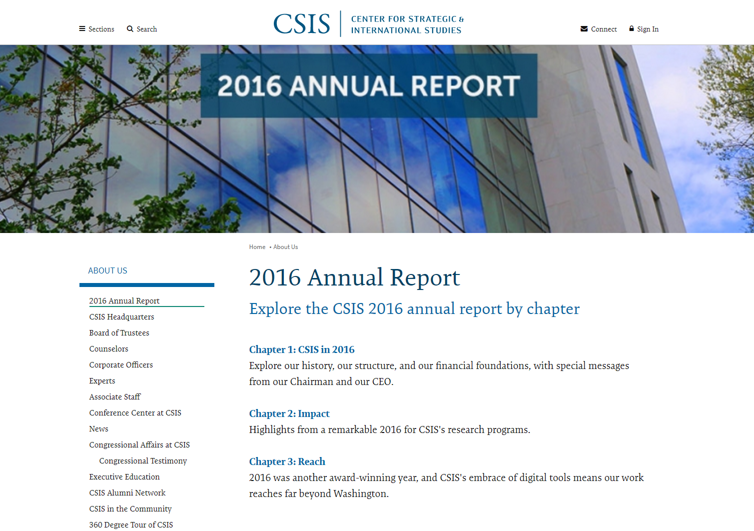 A screenshot of the Center for Strategic and International Studies nonprofit annual report from 2016.