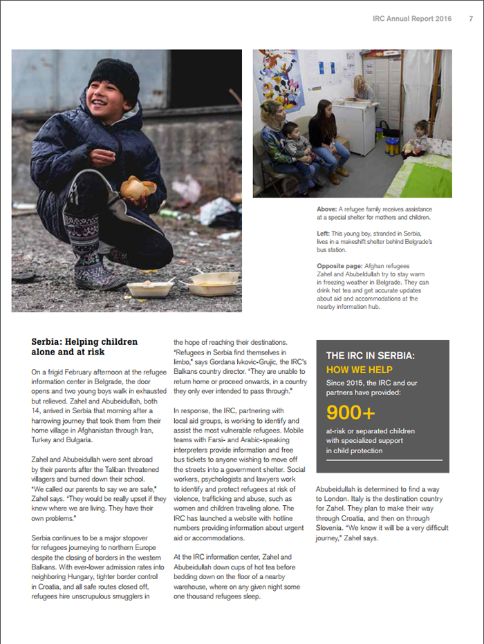 A screenshot of the International Rescue Committee nonprofit annual report from 2016.