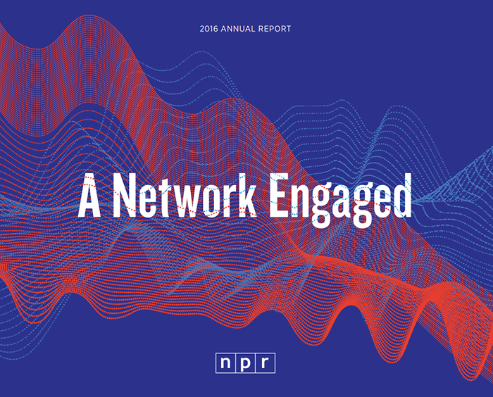 A photo of the NPR 2016 nonprofit annual report cover.
