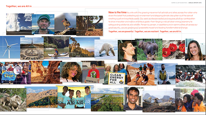 A screenshot of the Sierra Club Foundation nonprofit annual report from 2016.