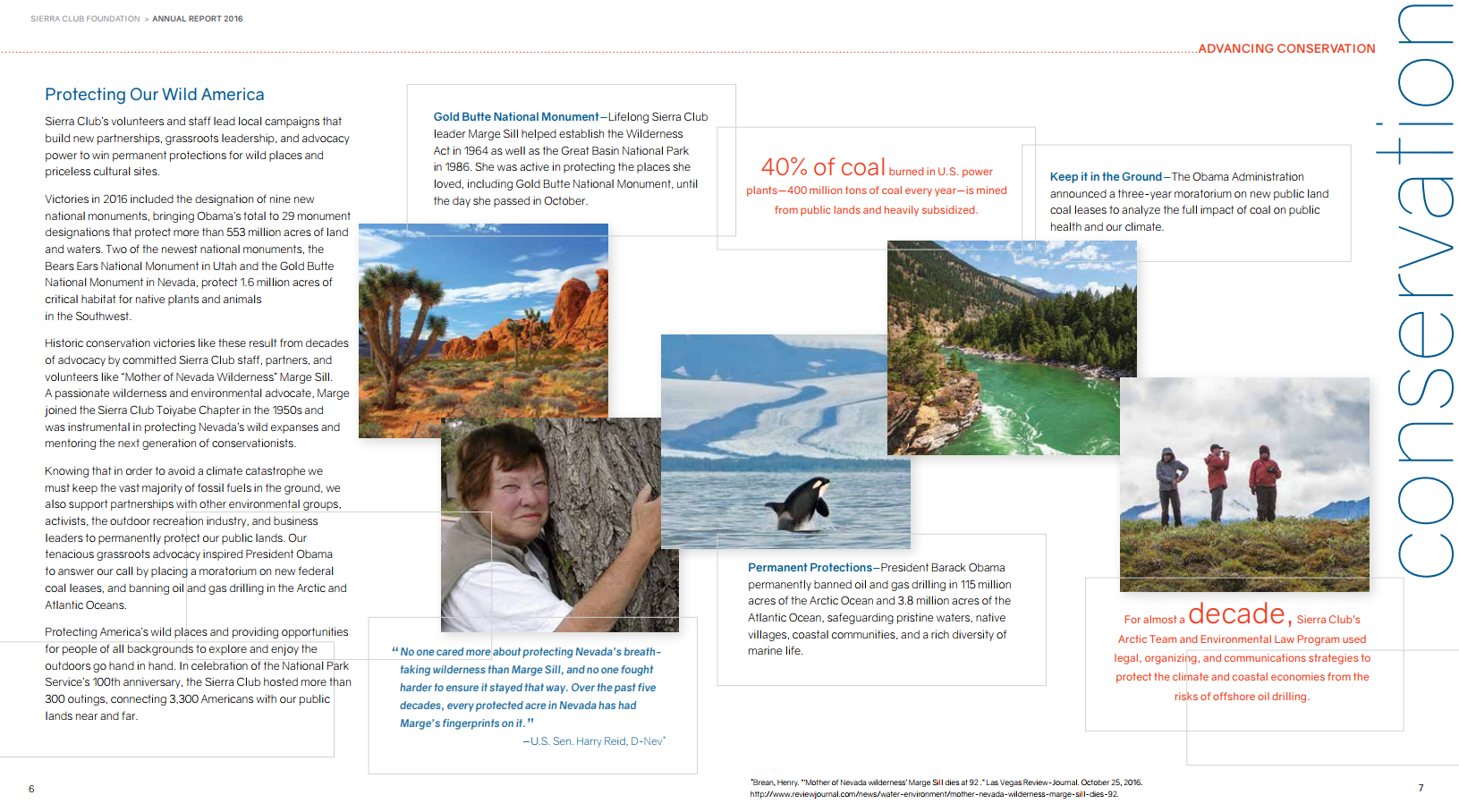 A photo of an interior page of the Sierra Club's annual report.