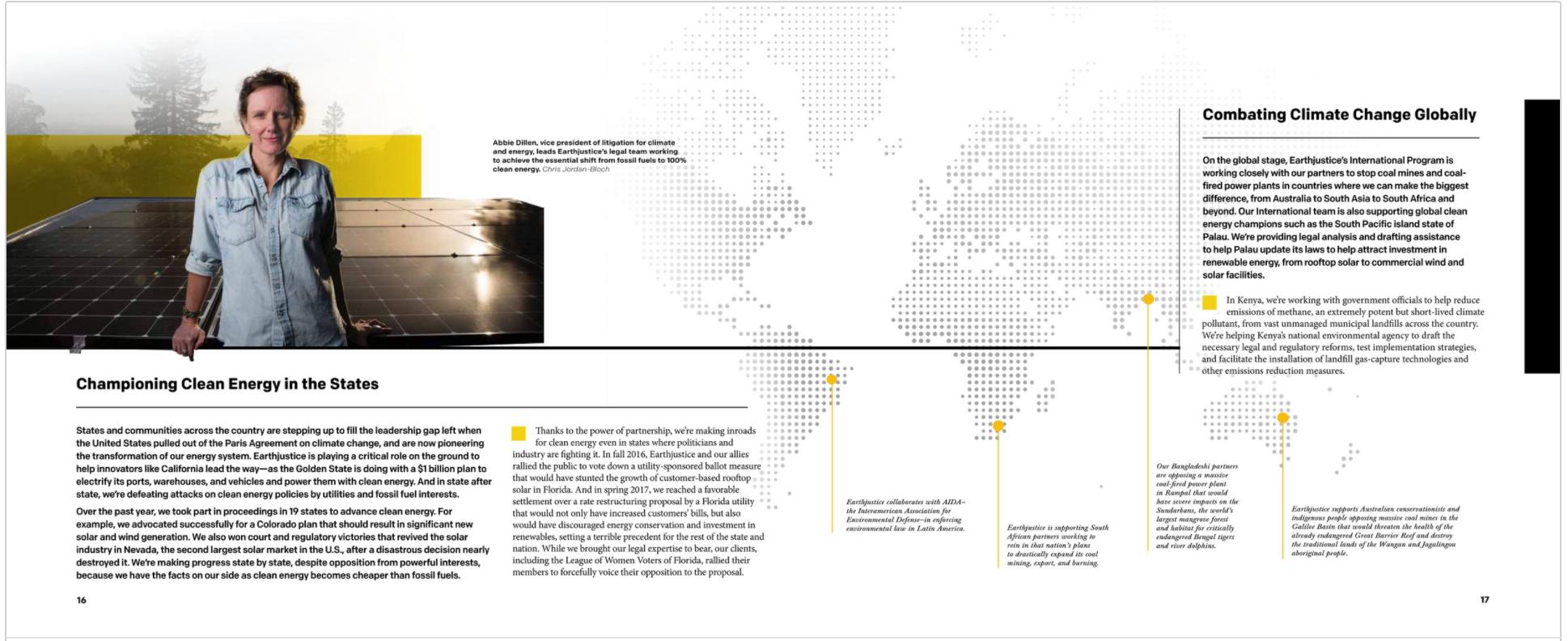 Earthjustice annual report screenshot